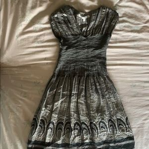 Waist Fitted Silver and Black Detailed Dress